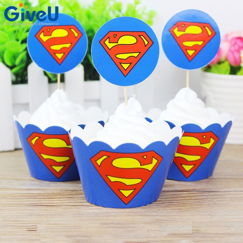 GiveU 24pcs/lot Superman Paper Cake Wrappers Toppers Baby Shower Decor Kids  Birthday Party Cake
