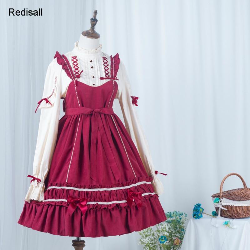 Lolita une-pièce robe longue manches courtes mignon doux chapeaux filles femmes taille haute robe JSK noeud papillon robe