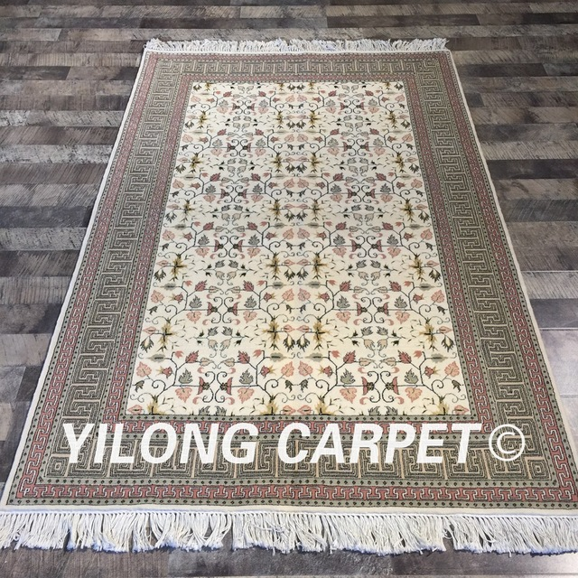 Yilong 4 X6 Handmade High Quality Parlor Decoration Wool Silk Rugs Traditional Chinese