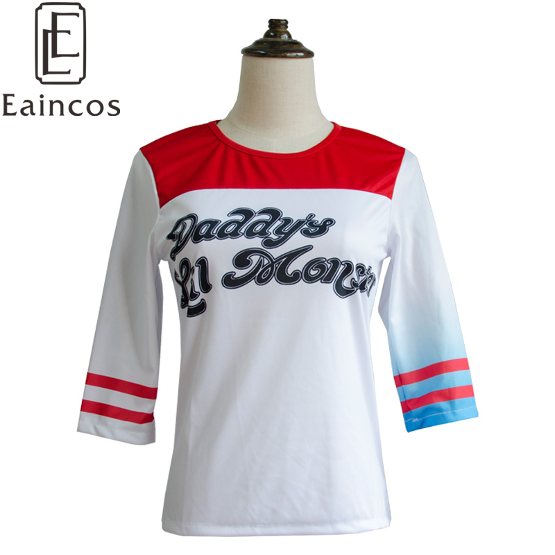Popular Movie Suicide Squad Harley Quinn Tees Cosplay Party Costume Women T-shirts Girls Casual Fashion Tops