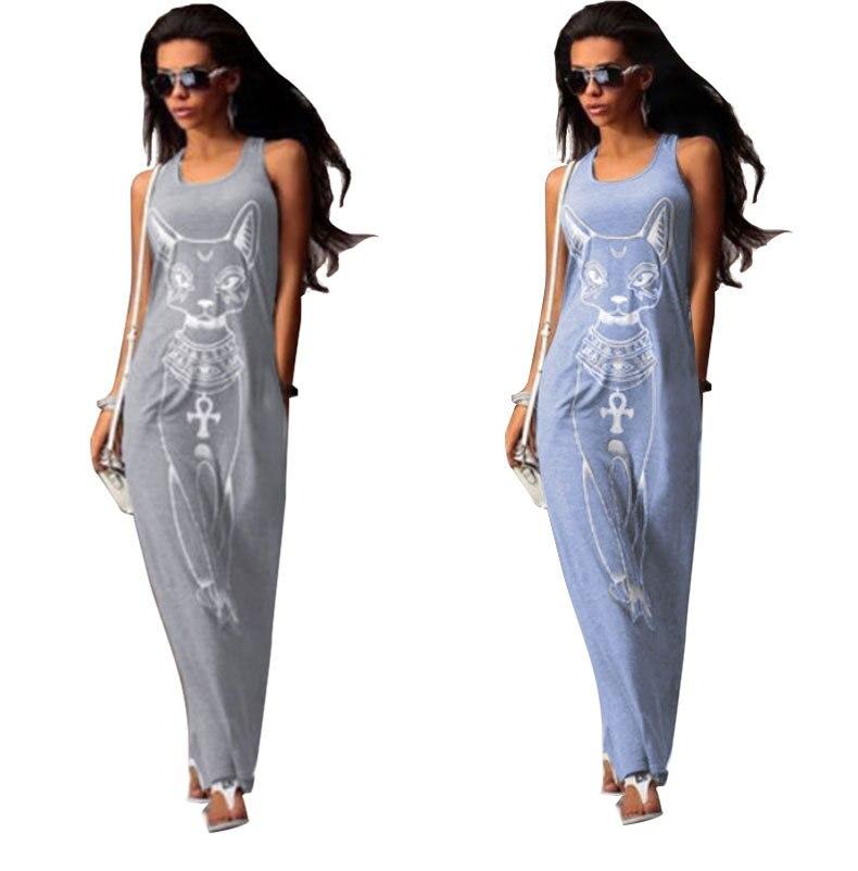 060d9df84b Sexy Evening Party Summer Dresses Women Boho Long Maxi Dress Strap Slim  Package Hip Vest Sundress Cartoon Cat Print Beach Dress-in Dresses from  Women s ...