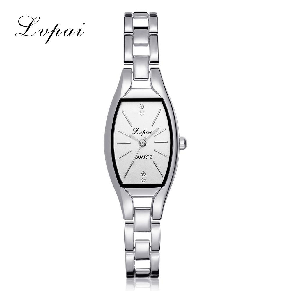 Lvpai Lady Elegant Bracelet Wrist Watches Women Luxury Stainless Steel Analog Quartz Watch Small Rhinestone Square Clock