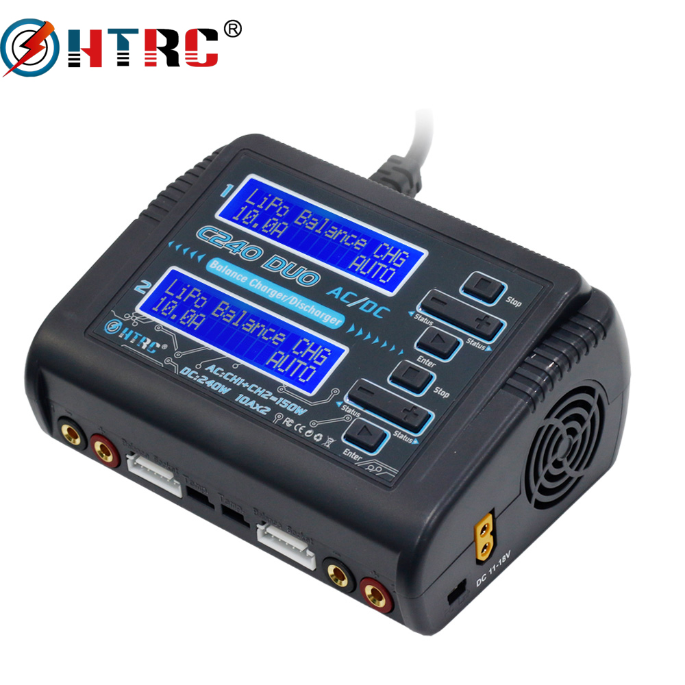 LiPo Battery Charger HTRC C240 Dual Channel AC 150W DC 240W 10A 1-6S For Li-ion LiFe NiCd NiMH LiHV PB Smart Battery Discharger