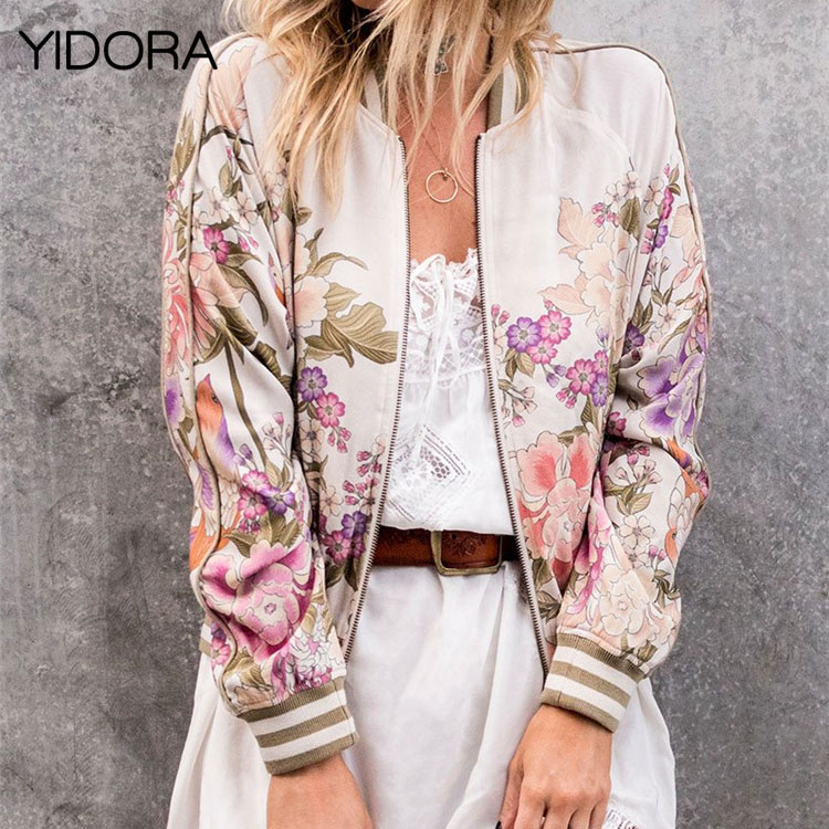 Hot Sale 2018 Women Black/Beige Stand Collar Multicolor Floral Print Zip Up Bomber Jacket Feature Contrast Striped Ribbed Trim