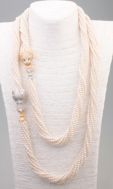 GrayBirds livraison gratuite vulgaire Tycoon conception collier de perles Animal panthère léopard perle et cuivre collier