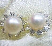 Lovely Fine Charming 8-9mm White Akoya Pearl Earring AAA stu