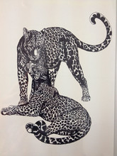 ARRIVAL 21 X 15 CM Two Cheetah Cool Temporary Tattoo Stickers Temporary Body Art Waterproof#81