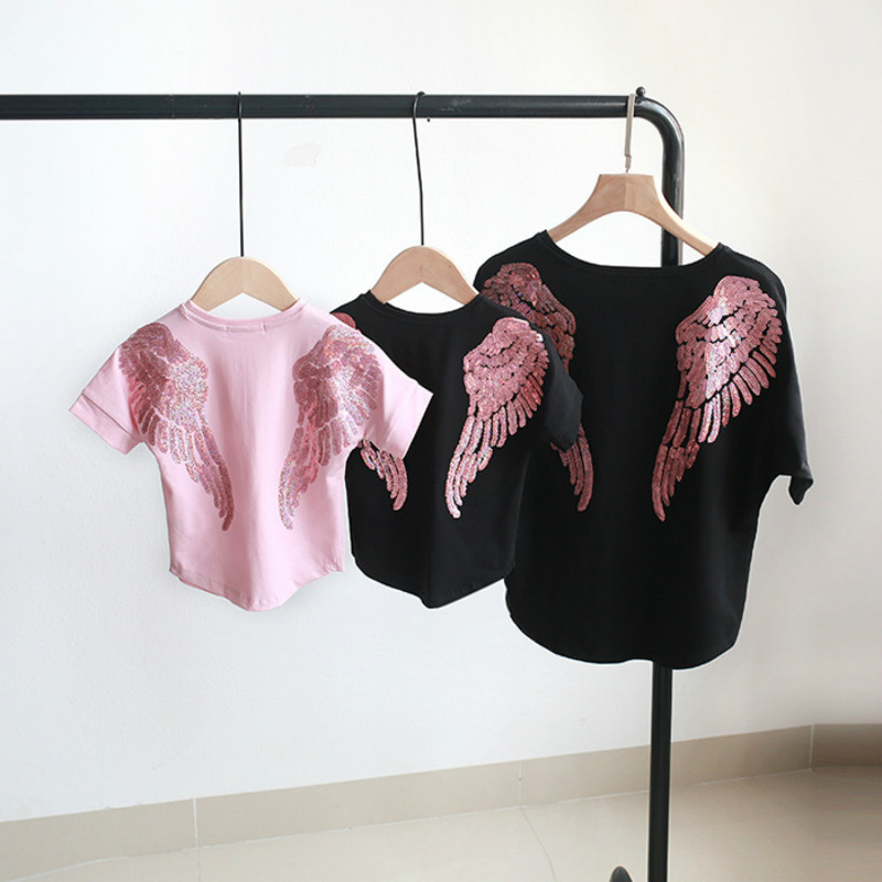 Tshirt For Mother Daughter Summer Dress Family Matching Outfits Angel Wings Embroidery Women Girl Tops Fashion Clothes Dresses