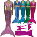 Halloween Costume 3 Set Princess Ariel Child Girls Mermaid Tail Costume Swimmable Lovely Kid Mermaid Tails Bikini set Swimming
