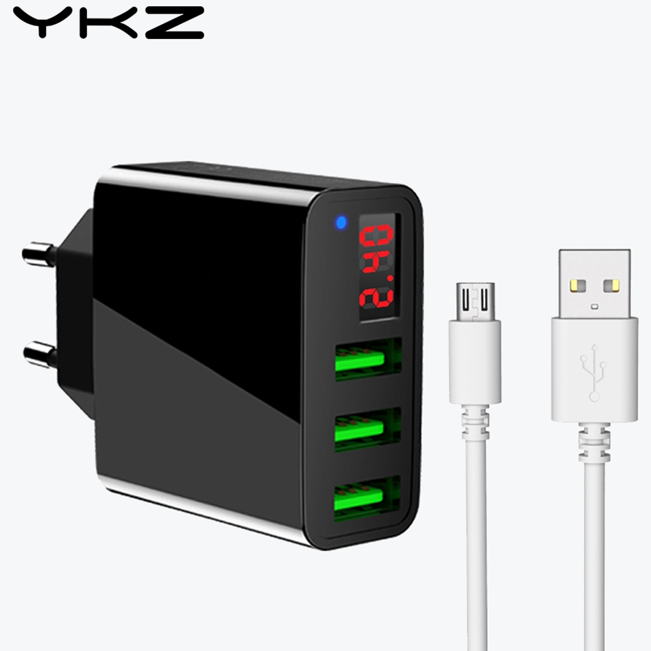 YKZ USB Charger Universal 3 Ports Led Display Charger Charging For Phone Chargers 5v 3a Charging For iphone 7 plus Chargers Y30