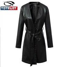 Long PU Leather Trench Coats Women Black Maxi Leather Jacket 2016 Fashion Autumn Winter New Ladies Sexy V Neck PU Cardigan