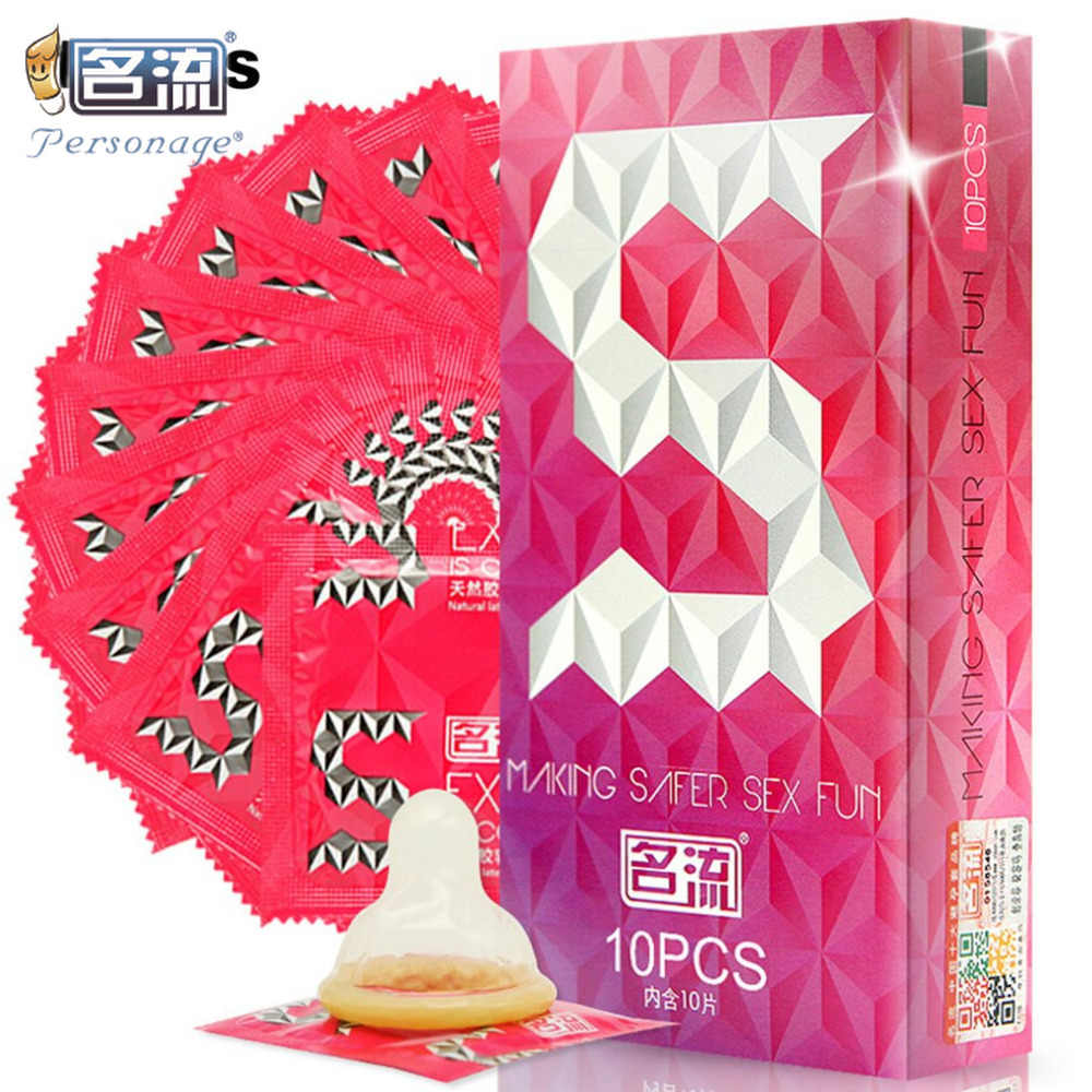PERSONAGE 10pcs Small Size Tight Ribed Spikes Condoms Long Delayed Pleasure Condones Latex Penis Sleeve Safe Lubricantion Toys
