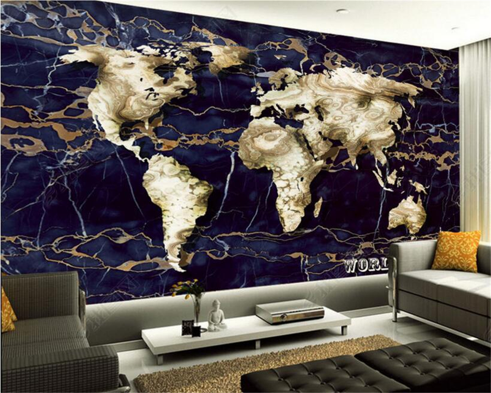 Beibehang 3D Wallpaper Living Room Bedroom Mural Marble World Map Creative TV Background wallpaper for walls 3 d papel de parede beibehang custom marble pattern parquet papel de parede 3d photo mural wallpaper for walls 3 d living room bathroom wall paper