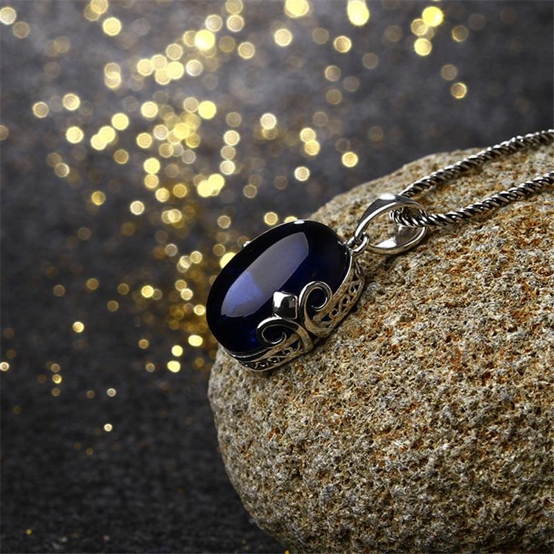 925 sterling silver jewelry Bohemian royal natural semi-precious stones girlfriend gift cute garnet red blue corundum Pendant 925 sterling silver jewelry natural semi precious stones retro yellow chalcedony earring classical retro girlfriend gift