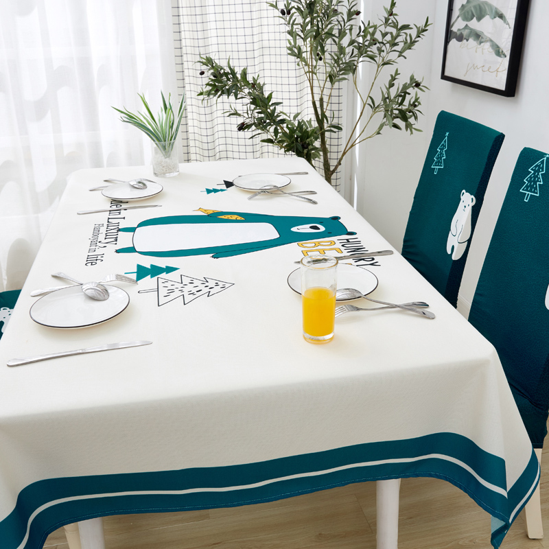 Image 4 - Parkshin Modern Cartoon Bear Tablecloth Home Kitchen Rectangle Decorative Table Cloths Party Banquet Dining Table Cover 4 Size-in Tablecloths from Home & Garden