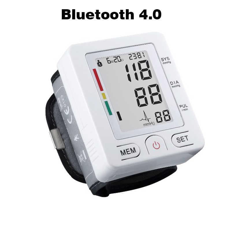بلوتوث 4.0 المعصم الرقمية lcd مراقبة ضغط الدم المحمولة مقياس التوتر متر ضغط الدم متر ل iOS جهاز
