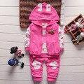 Новейшие 2016 осень новорожденных девочек костюмы для мальчиков / новорожденного комплект одежды дети жилет + майка + брюки 3 шт. устанавливает детей подходит 1025 #