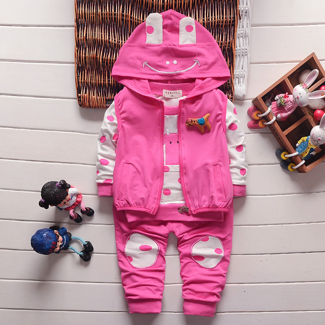 Novo 2016 outono meninas meninos ternos infantil / recém-nascido conjuntos de roupas crianças colete + camisa + calças 3 Pcs define crianças ternos 1025
