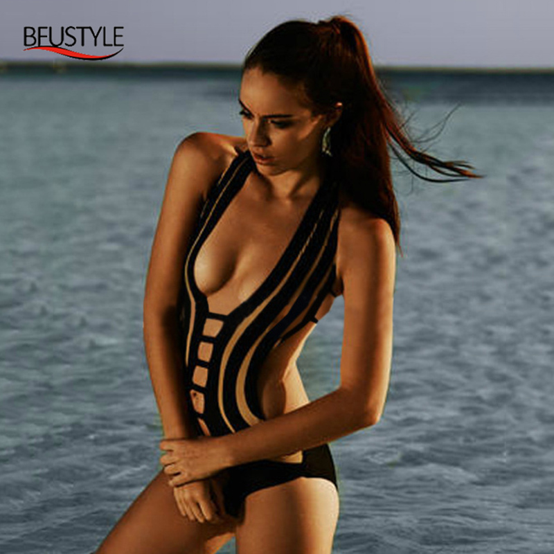 BFUSTYLE 2017 Halter One Piece Swimsuit For Women Sexy Black Patchwork Bathing Suit Backless Swimwear Bandage Swiming Suit