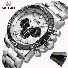03993d9a554b Reloj MEGIR superior marca de lujo reloj de cuarzo de los hombres analógico  cronógrafo reloj de pulsera de acero inoxidable comp