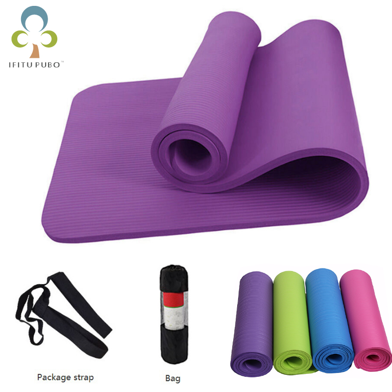 Hotest No-slip Yoga Mat 10mm NBR Sport Yoga Mat For Fitness Pilates Gymnastics Colchonete Pad 183*61*1cm With Yoga Bag Strap WYQ