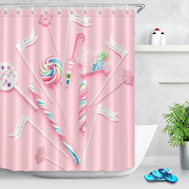 LB Colorful Candy Girl Lady Shower Curtain And Mat Set With 12Hooks Waterproof Polyester Pink Bathroom