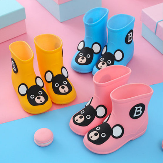 Baby Toddler Girls Boy Cute Rain Boots Shoes Bow Soft Rubber Shoes Kids Shoes XI