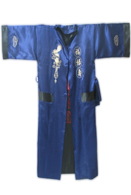 New Blue Chinese Men Silk Rayon Two-side Robe Embroidery Reversible Dragon Nightwear Kimono Yukata Gown One Size MR090