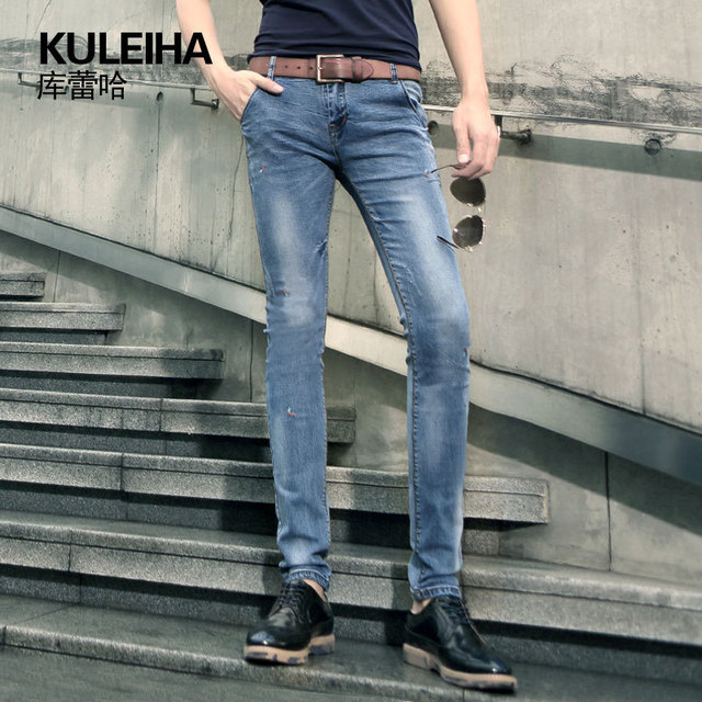 NEW 2015 summer style ripped jeans men fashion slim brand vintage skinny  jeans plus size high quality cotton casual pants 8165 985aafdc648a