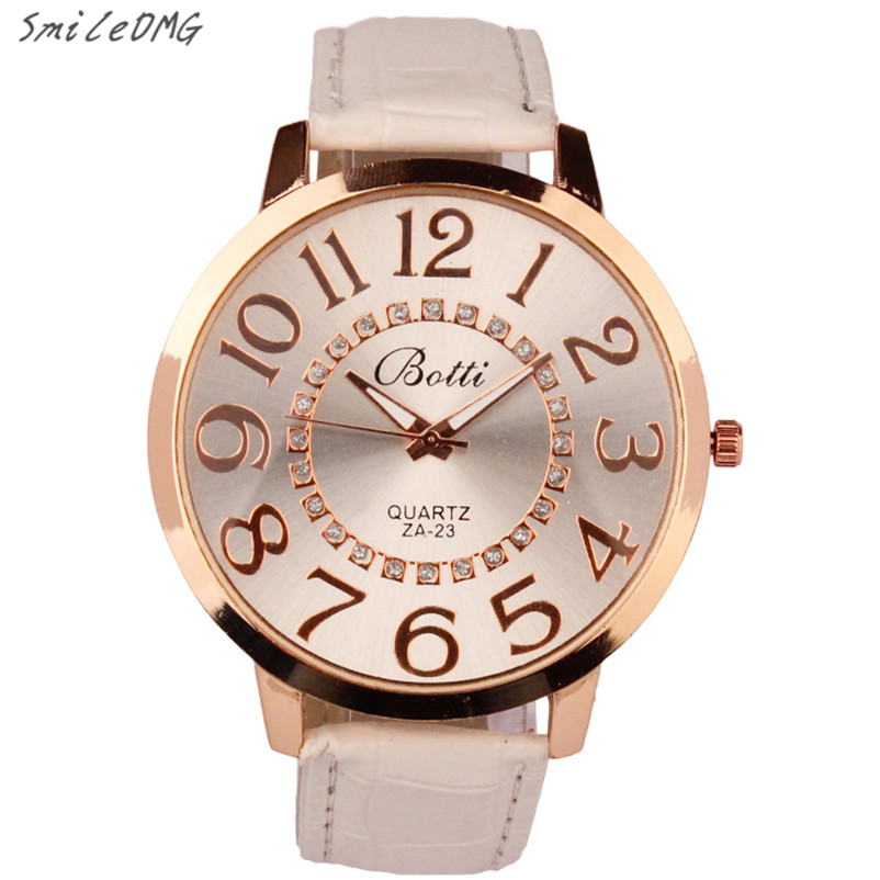SmileOMG New Hot Marketing Womens Fashion Numerals Golden Dial Leather Analog Quartz Watch Free Shipping Christmas Gift,Sep 5 smileomg hot sale fashion women crystal stainless steel analog quartz wrist watch bracelet free shipping christmas gift sep 5