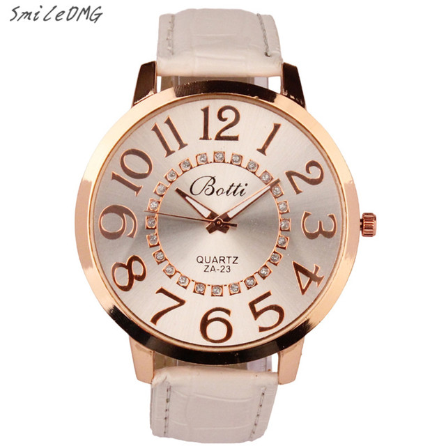 SmileOMG New Hot Marketing Womens Fashion Numerals Golden Dial Leather Analog Qu
