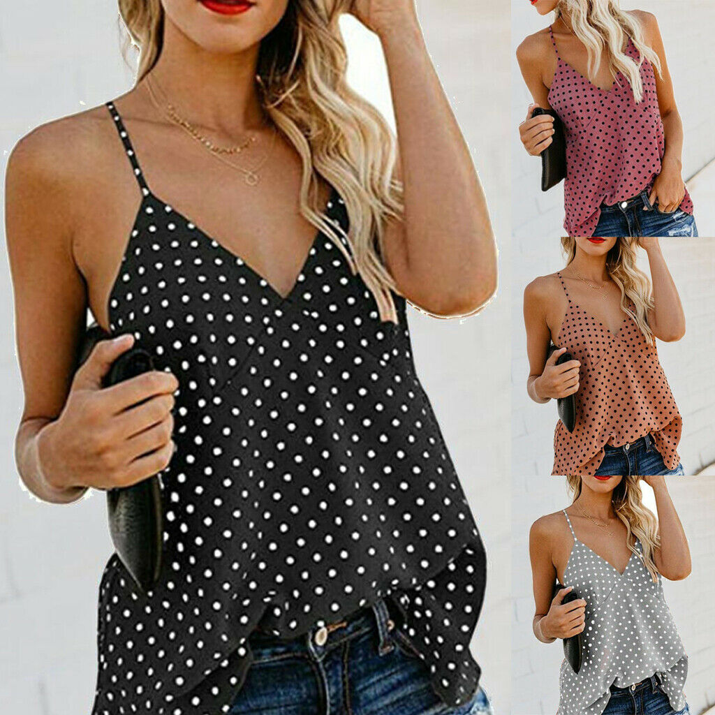Women Summer Tops Polka Dot Spotted Print Shirt Straps Camis Ladies Holiday Sexy Tank 2019