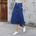 Yichaoyiliang Blue High Waist Vintage Denim Skirt Women Jeans Skirt A-line Preppy Style Fashion Midi Skirt Oxford Fabric Skirt
