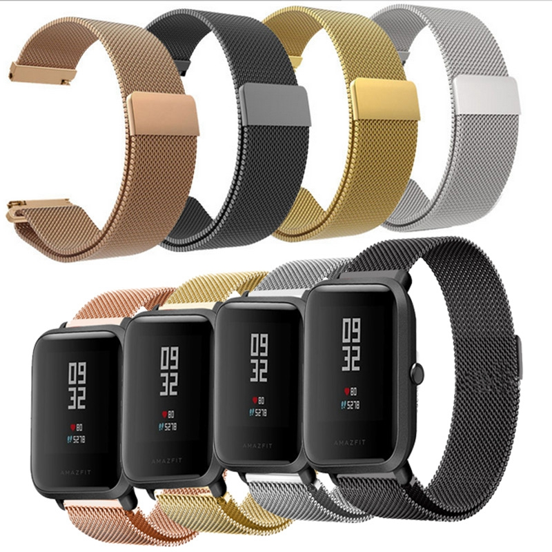 20mm Milanese Loop Magnetic Stainless Steel Watch Band for Xiaomi Huami Amazfit Youth bit Smart Watchband Strap Wrist Bracelet sikai universal 20mm stainless steel watch straps bracelets for huami bip bit pace lite youth watch for xiaomi amazfit bit band