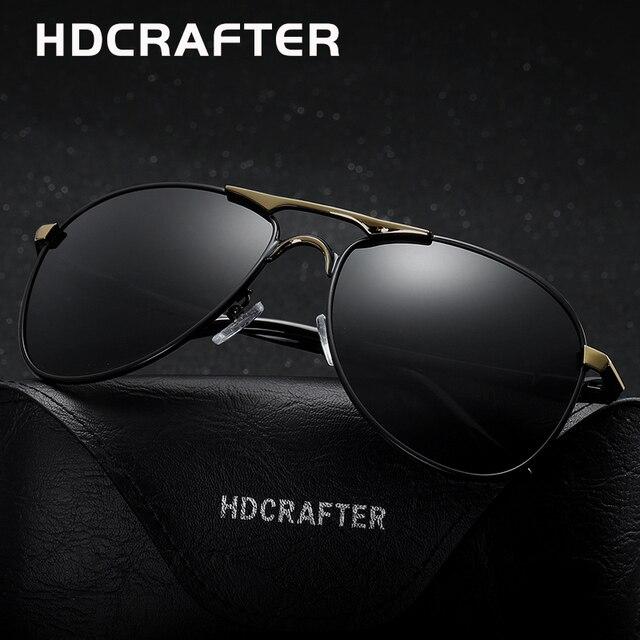 Hdcrafter Klasik Terpolarisasi Pilot Kacamata Pria UV400 Merek Retro Pria  Sun Kacamata untuk Pria Mengemudi Kacamata 2ba01d8840