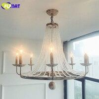 FUMAT American Nordic Living Room Restaurant Pendant Lamp LED Artist Metal Crystal Lights Antique Finished Metal Pendant Light