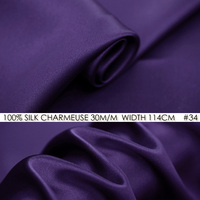 HEAVY SILK FABRIC SOLID COLOR PURPLE Satin 114cm Width 30momme 100 Pure Silk Fabric For Sewing