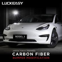LUCKEASY Car carbon fiber bumper modification for Tesla Model 3 2017-2019 headlight protection decoration