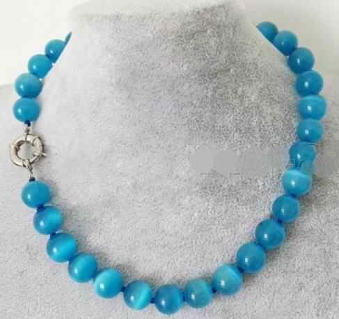 Fashion 10mm Natural Blue Mexicaanse Opal stone Kralen Ketting 17''