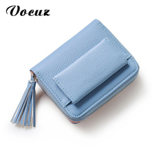 Women Mini Wallets Female Tassel Pendant Short Money Wallets PU Leather Lady Zipper Coin Purses Fashion Card Holders