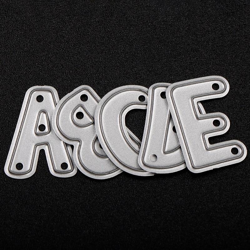 L'alphabet découpe le métal 26 pièces/ensemble lettre découpe meurt scrapbooking gaufrage dossier costume pour grande machine de découpe