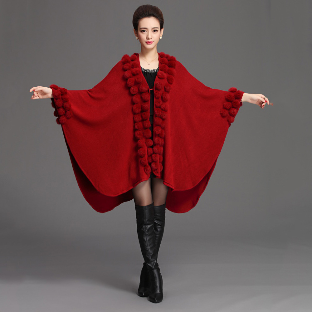 2017 Fashion Winter Big Size shawls with Natural rabbit fur pompom women scarf Luxury Design long
