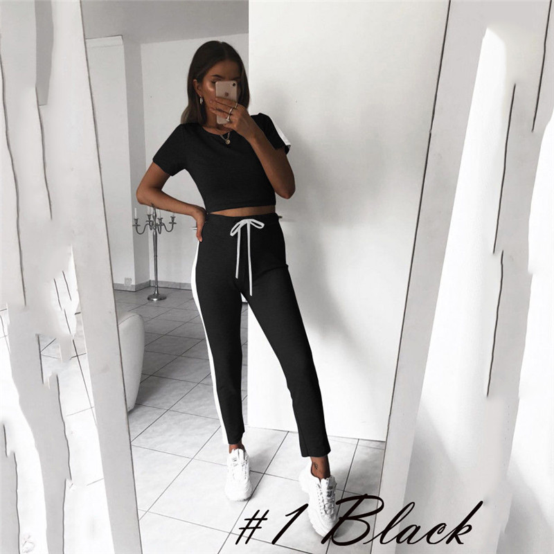 S-XL 2018 New Arrival Women's Tracksuit T Shirts Tops+Pants Bandage Striped Slim Clothes Sets Joggers Wear Casual Ladies Outfits