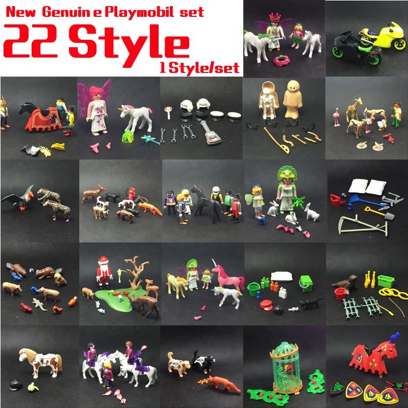 22 Style 7.5cm Playmobil Dolls City Zoo Kit toys Childrens Petting Zoo Action Figure Kit Playmobil mini Bricks Toy Gift