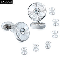 Exquisite High Quality Rhodium Plated With Crystal Cuff Links And Studs Set Factory Sale