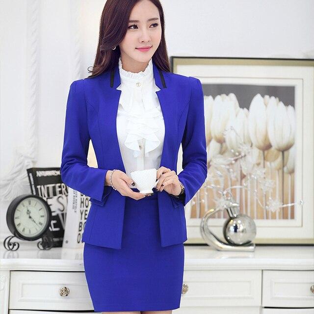 2016 Outono Inverno Mulheres Saia Ternos Formais Blazer Azul Desgaste do Trabalho Define Senhoras Ternos de Negócio Do Escritório Projetos Uniformes Salão de Beleza