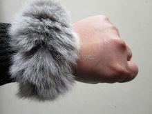 Free Shipping/ Real Rabbit Fur ponytail holder hair band scrunchie  natural gray