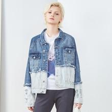 Denim Jacket Women Patchwork Design Vintage Drop-shoulder Long Sleeves Single Breasted Pockets Loose Coat New Fashion Style 2018 недорого