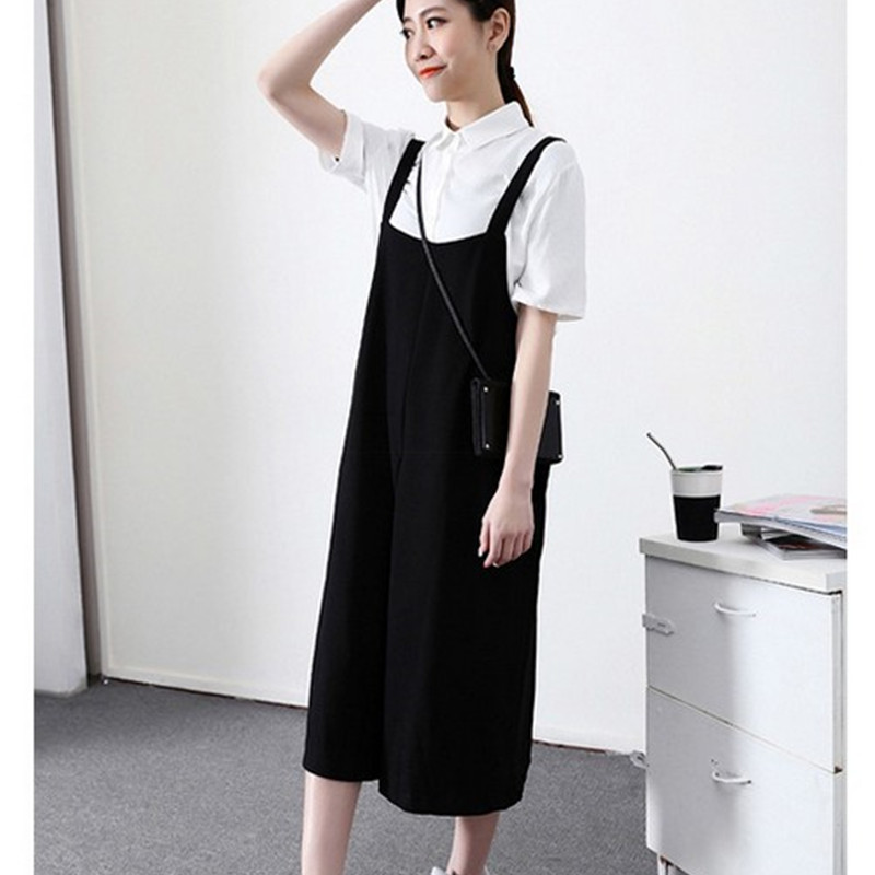 Free Shipping 2020 New Fashion Plus Size XS-9XL Spring And Autumn Loose Wide Leg Pants Jumpsuit Bib Pants 3/4 Overalls Balck
