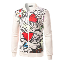 New Men's Fashion Jacket Love Prints Personalized Collar Baseball jersey Zipper Leisure Cotton Sweater Coat B3150